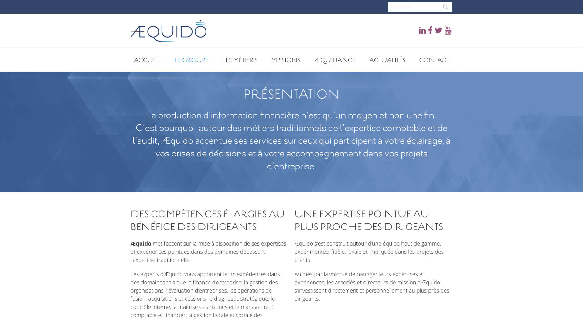 Aequido - Cabinet d'audit et d'expertise - Page Groupe
