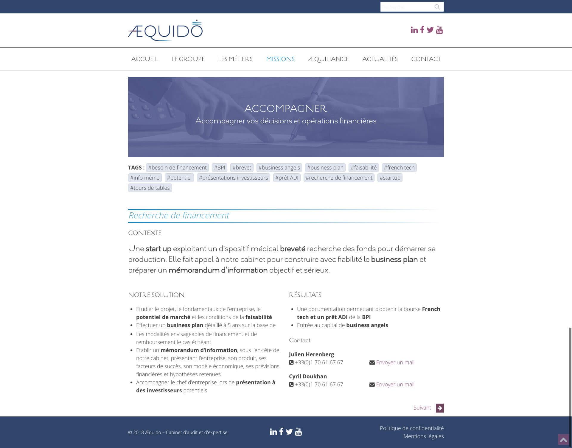 Aequido - Cabinet d'audit et d'expertise - Page Mission